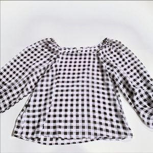 A new day black white plaid blouse large